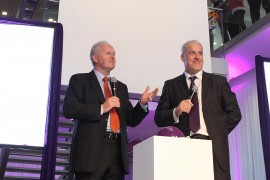 Paul Donovan and Conor Carmody speaking at the launch of eMobile