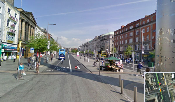 O'Connell Street in Dublin using Google's Street View