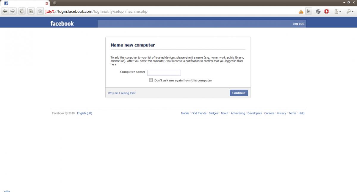 Facebook login notification screen