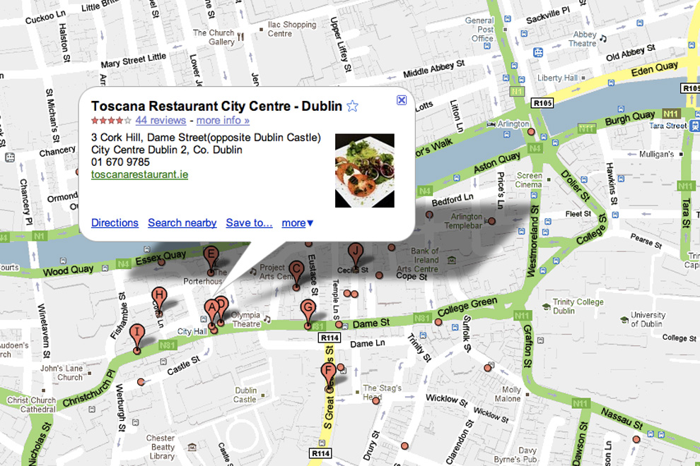 A search for Italian restaurants in Dublin
