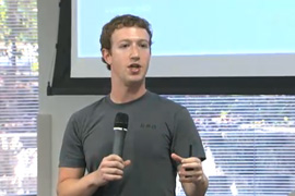 Mark Zuckerberg speaking at Facebook HQ in Palo Alto yesterday