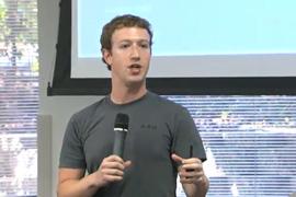 Mark Zuckerberg speaking at Facebook HQ in Palo Alto yesterday