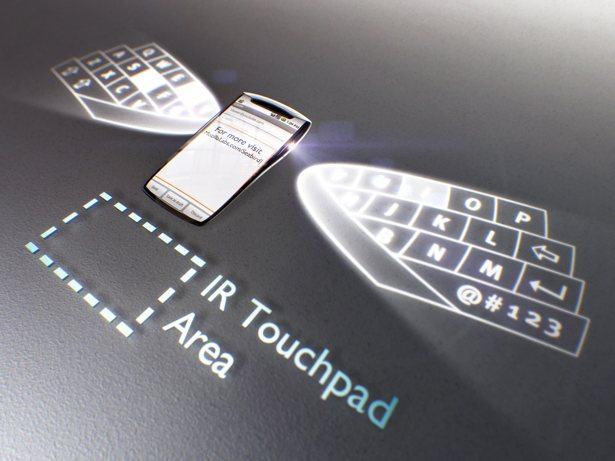 Mozilla Seabird Concept Phone showing laser keyboard