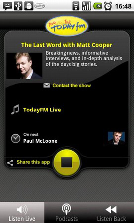Today FM Android app screenshot