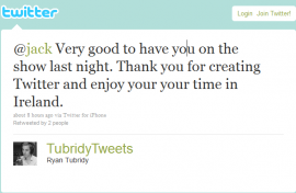@jack Very good to have you on the show last night. Thank you for creating Twitter and enjoy your your time in Ireland.