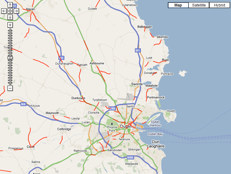 Gardaí's Google Map of accidents blackspots
