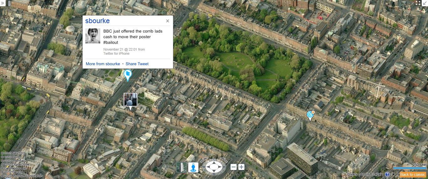 Bing Maps showing Twitter overlay