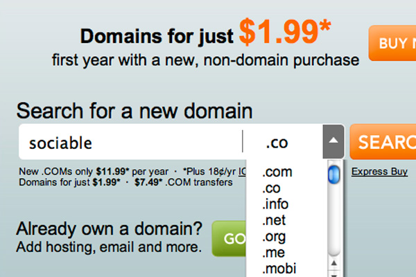 Go Daddy: .CO now default domain
