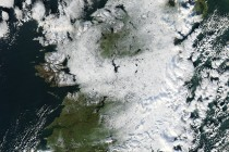NASA image of Ireland covered in snow