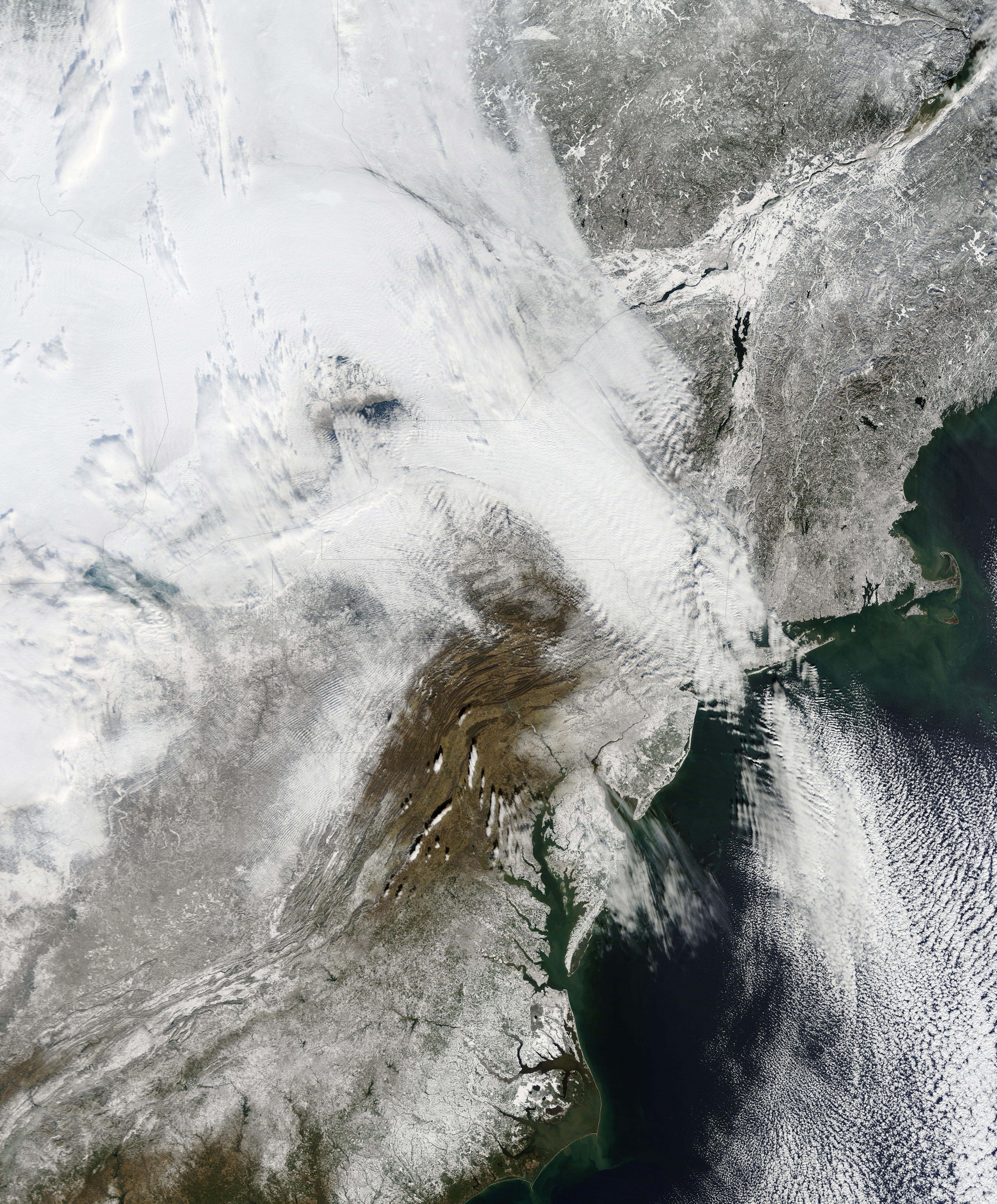 New York in snow via NASA
