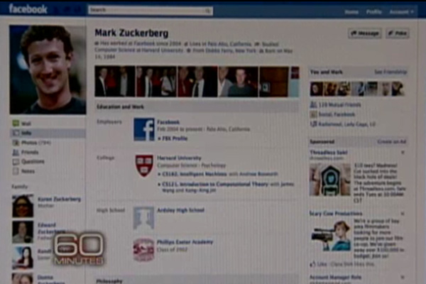 New look Facebook profile page