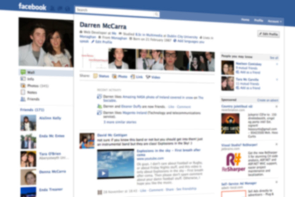 New look Facebook profile