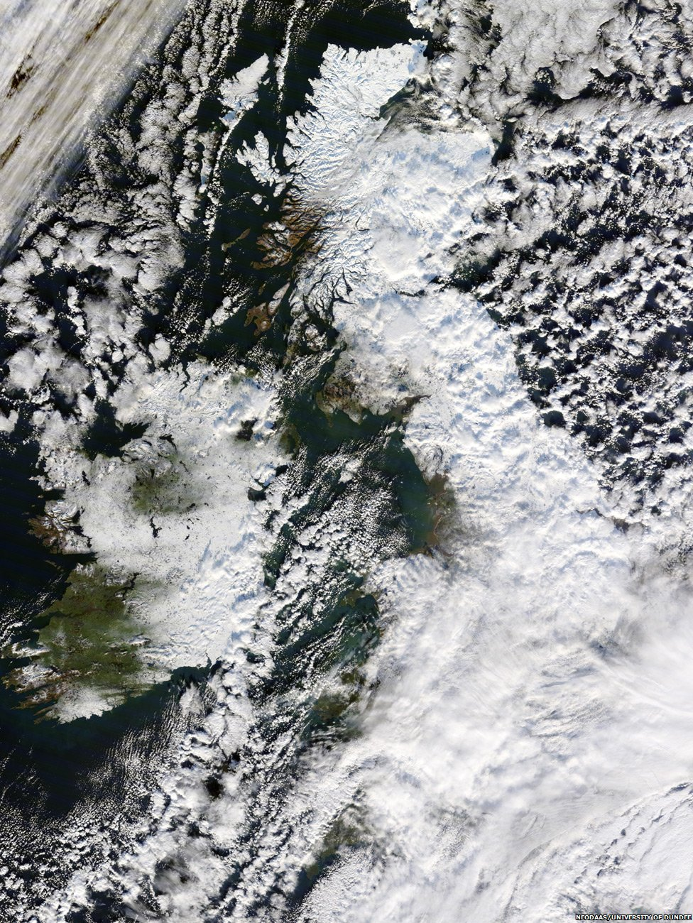 NASA image of snow covered UK in December 2010