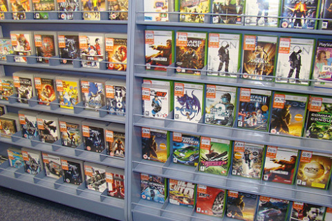 Used games on shelf