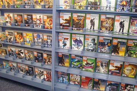 Used games on shelf