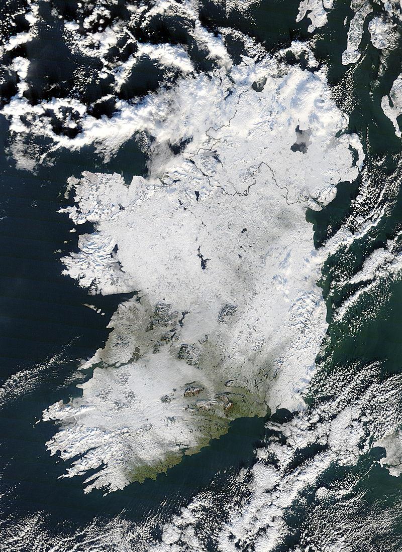 Ireland under snow, December 22nd 2011 - NASA