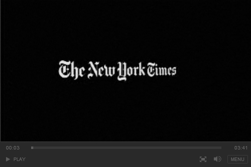 New York Times video screen