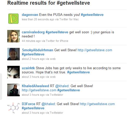 #getwellsteve via Twitter