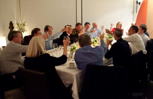 President Barack Obama attending dinner with fourteen technology business leaders in California