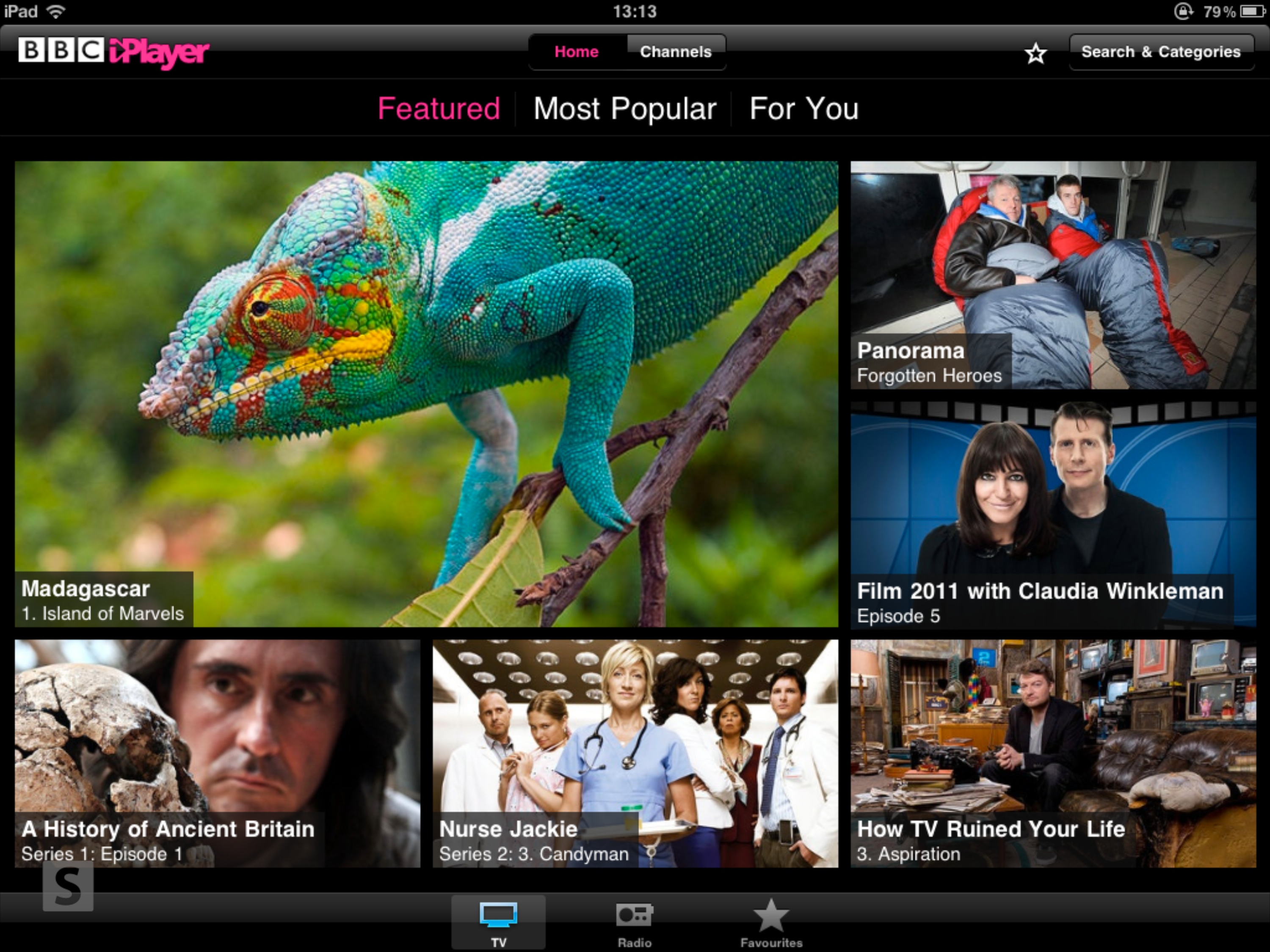 BBC iPlayer iPad app home screen