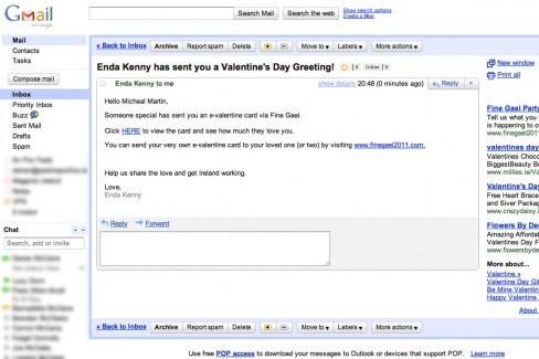 Fake Valentine's Day email sent by Enda Kenny to Micheál Martin