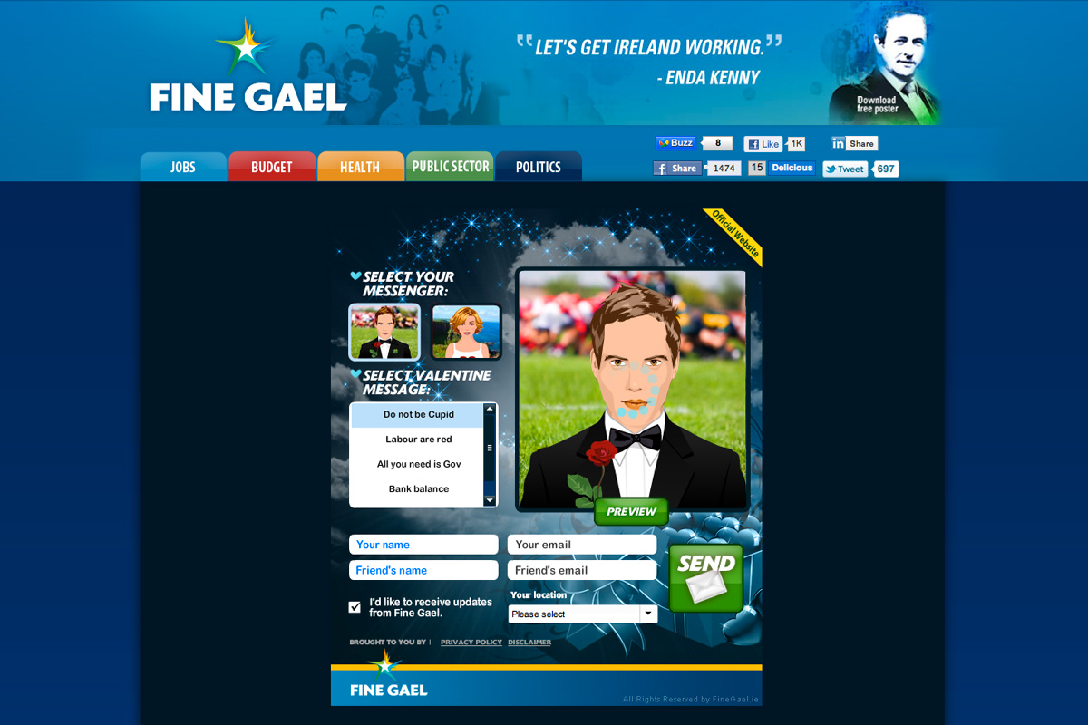 Screenshot of Fine Gael's terrible Valentine's Day app