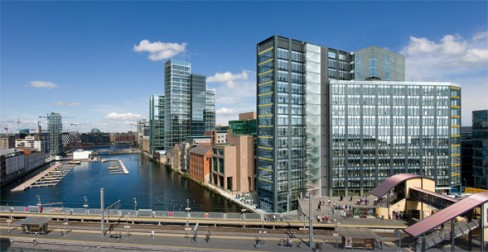 Artists impression of the Montevetro building in Dublin's Grand Canal Dock
