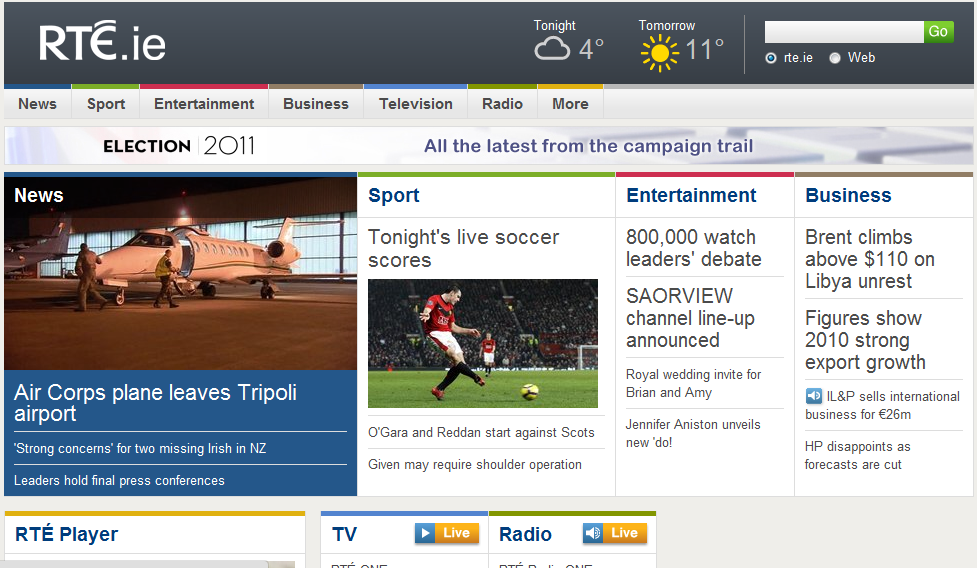 RTÉ Digital - image of RTÉ front page