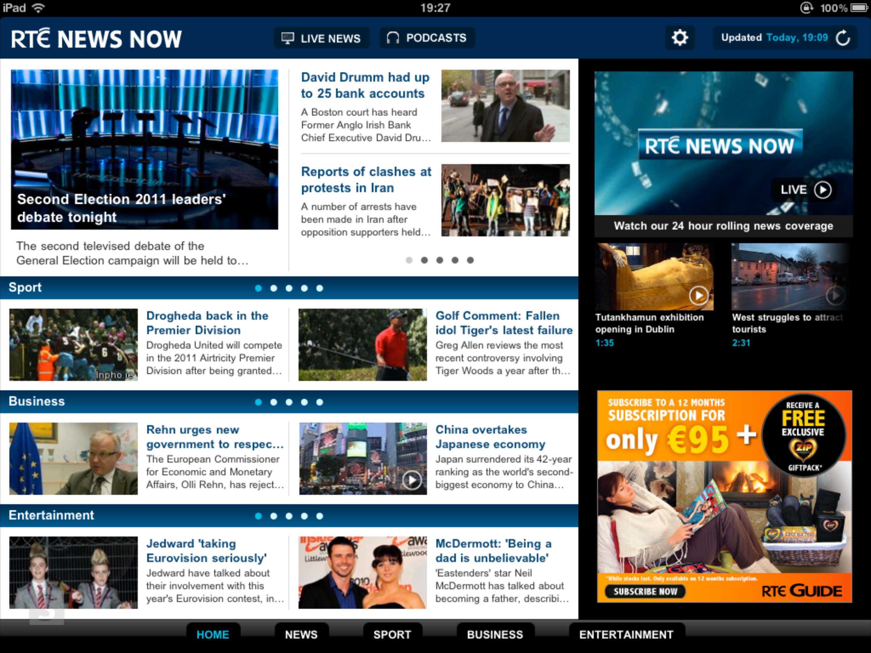 RTÉ News Now app for iPad home screen