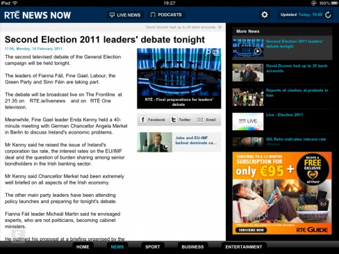 RTÉ News Now app for iPad article page
