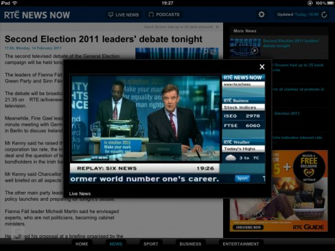 RTÉ News Now app for iPad rolling news overlay
