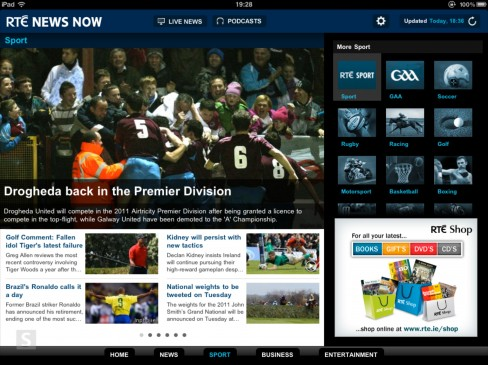 RTÉ News Now app for iPad sports category