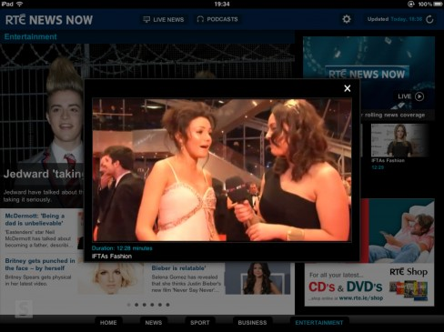 RTÉ News Now app for iPad video content overlay