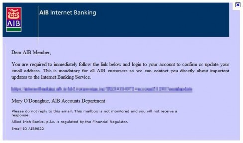 Scam phishing email purporting to be from AIB