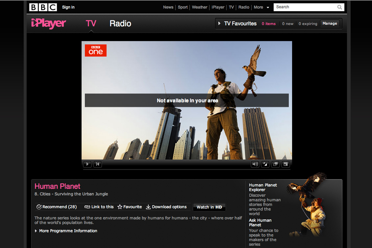 BBC iPlayer not currently available in Ireland