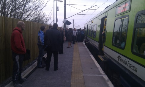 Stranded Irish Rail passengers ask a driver questions
