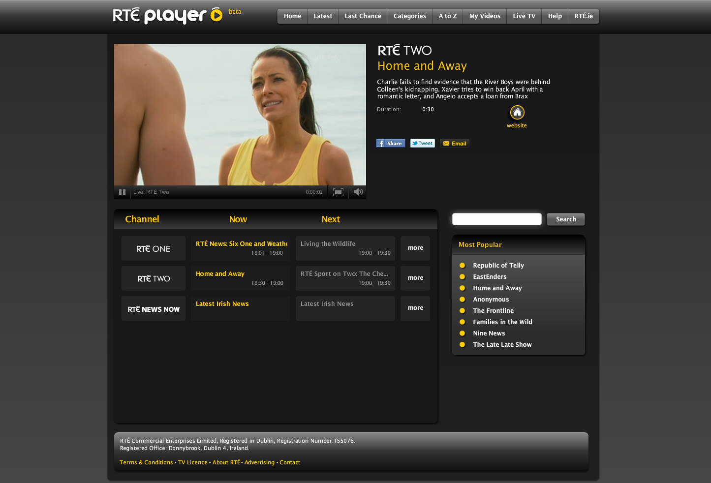 Australian soap Home and Away on RTÉ Player Live TV