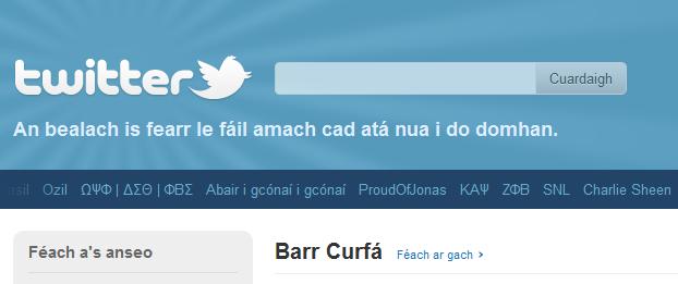 Twitter as Gaeilge