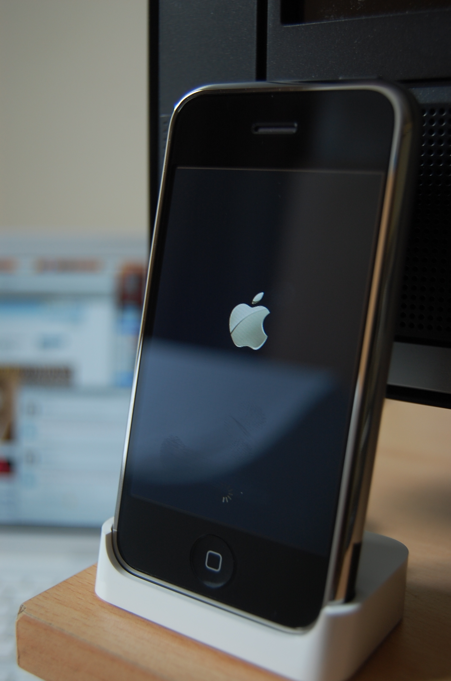 Original iPhone docked, via Wikipedia