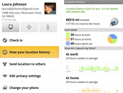 View your location history from your Latitude profile and discover interesting statistics about your location habits