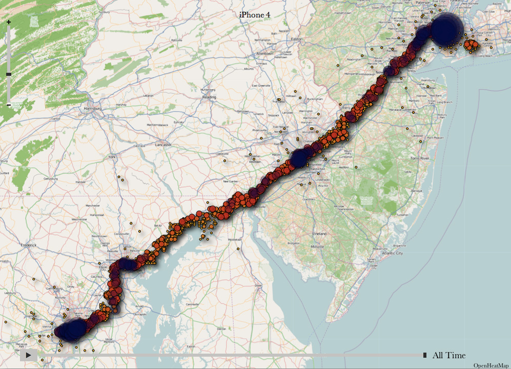 Visualisation of one user's vulnerable location data recorded by an iPhone