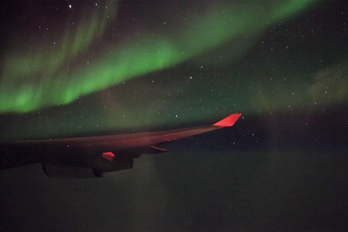 Northern lights as seen from transatlantic flight