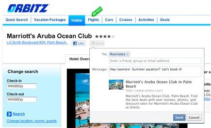 New Facebook Send button on the Orbitz website