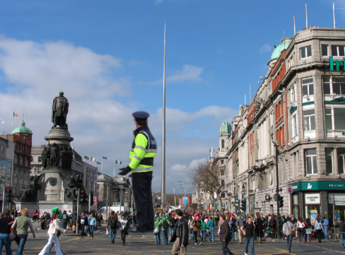 Giant Garda presence on O'Connell St. From @fionnkidney