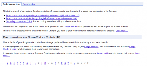 Google Social Search Index Page