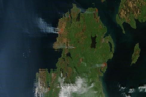 Gorse fires across Ireland. Credit: NASA/GSFC, MODIS Rapid Response