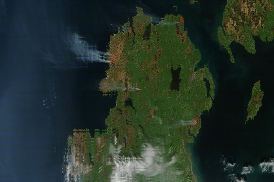 Gorse fires across Ireland. Credit: NASA/GSFC, MODIS Rapid Response