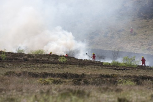 Fire fighters tackle a wild gorse fire on the north Monaghan border. Credit: Darren McCarra