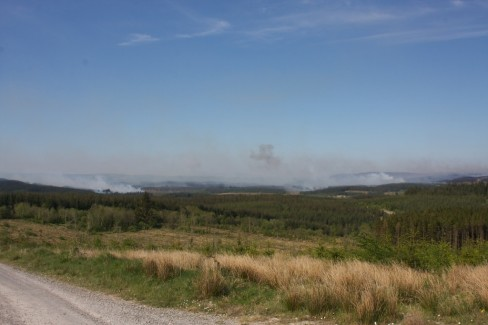 Smoke bellows uncontrollably from gorse fires across Sliabh Beagh. Credit: Darren McCarra