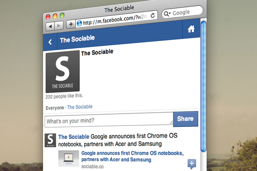 The Sociable's mobile profile on Facebook